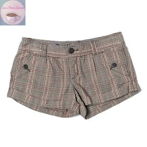 American Eagle Outfitters Plaid Mini Shorts Brown
